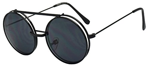 Round Circular Django Flip-Up Steampunk Inspired Metal Two in One Sunglasses (Black, - Sunglasses 1 2 In