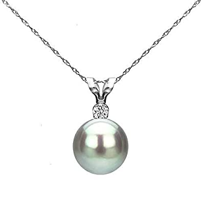 14K White Gold 1 100 Ct Diamond Silver-Grey 7-7.5mm Freshwater Cultured Pearl Pendant Necklace G-H, SI1-SI2 , 18