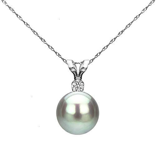 14K White Gold 1/100 Ct Diamond & Silver-Grey 7-7.5mm Freshwater Cultured Pearl Pendant Necklace (G-H, SI1-SI2), 18