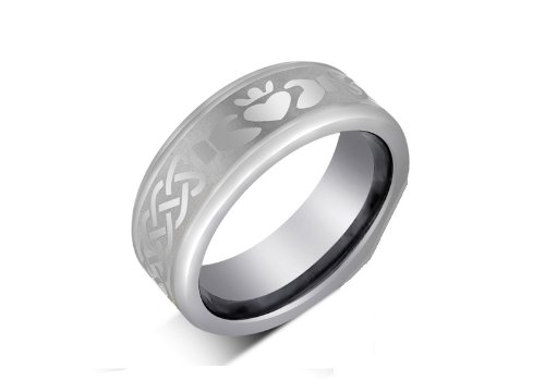8MM Tungsten Carbide IRISH CLADDAGH Celtic Design Wedding Band Ring w/Laser Etched (Available Sizes 7-14 Including Half Sizes) Please e-mail sizes (Solid Tungsten Carbide Laser Ring)