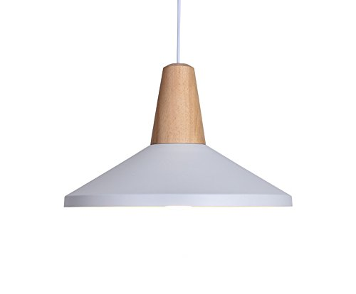 BOKT 60W Edison Lights Modern Industrial Pendant Lamp Colorful Hanging Chandelier Shade Light E26/E27 Base Painted Finish Solid Wood Series Single Head (B-White) by BOKT (Image #5)