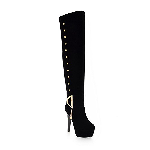 AmoonyFashion with Stiletto and Frost Toe 10 US PU Closed Short B Out Round Black M Boots Womens Plush Solid Hollow rwvqgPBxr