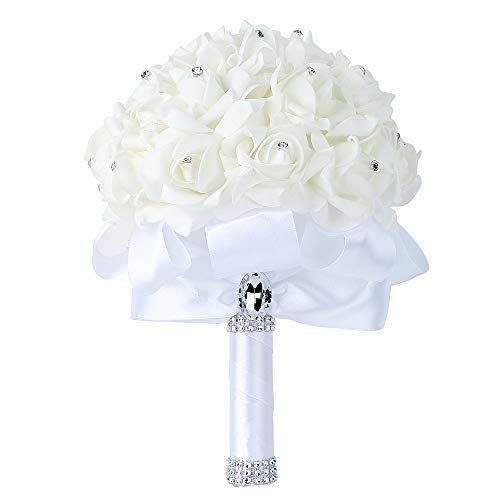 Wedding Bouquet Bridesmaid Toss Bouquet Wedding Holding Bouquet Flowers Crystal Rhinestone for Wedding Engagement Valentine's Day Decor Party and Church Satin Bride Bouquets 18cm x 24cm (A-White)
