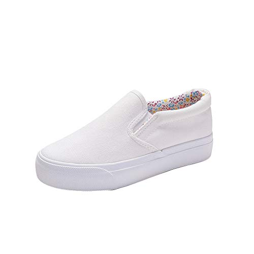 Canvas Varsity Sneakers - FRENDLY Sneakers Fashion Women Round Toe Flats Shoes Solid Canvas Cool Casual Slip On Concise Shallow Shoes White