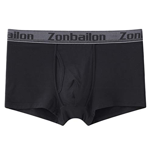 - Zonbailon Mens Seamless Spandex Boxer Trunk Underwear Men Open Fly Black