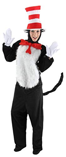 elope Adult Deluxe Cat In The Hat Costume, Red/White, -
