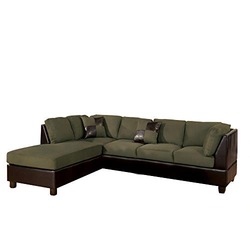 Benzara BM168780 Microfiber Reversible Sectional Sofa with Ottoman, Green/Brown