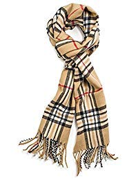 Classic Luxurious Soft Cashmere Feel Unisex Winter Scarf in Checks and Plaid (Camel Plaid)