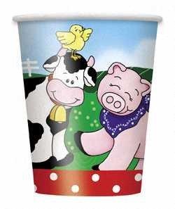 Farm Friends 9 Oz Paper Cup - Pack of 8