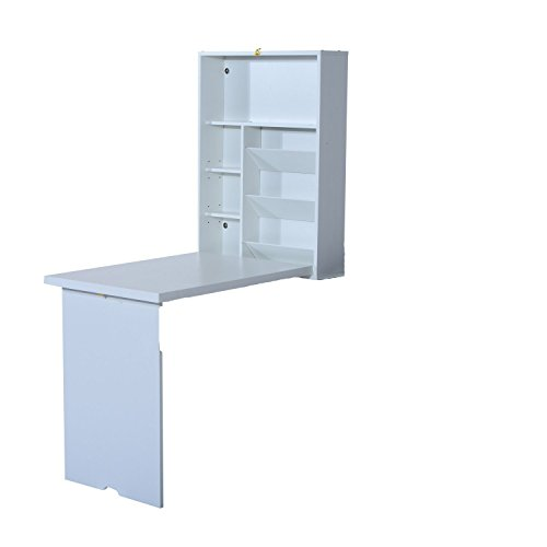 HomCom Fold Out Convertible Wall Mount Desk - White