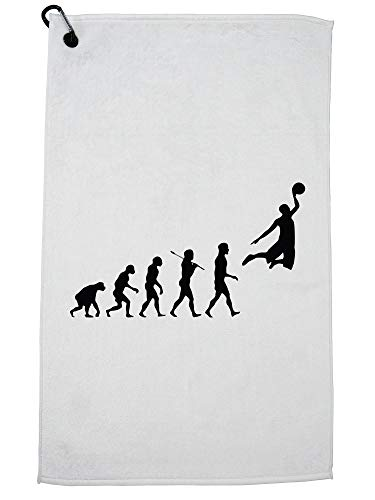 Hollywood Thread Evolution of Man Basketball Hoop Dream Dunk Golf Towel with Carabiner Clip by Hollywood Thread