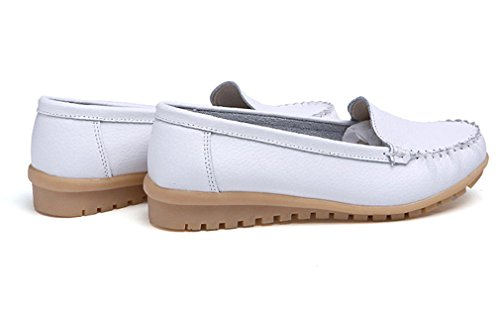 da Casual On Scarpe Scarpe pelle Bianco Donna in Slip Mocassini Mocassini Fashion donna vera Mocassini dEEAqpT