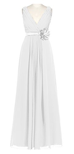 Prom Evening Dress AN55 Womens Long Anlin with Gown Party V Ivory Chiffon neck Flowers xwH4ptq