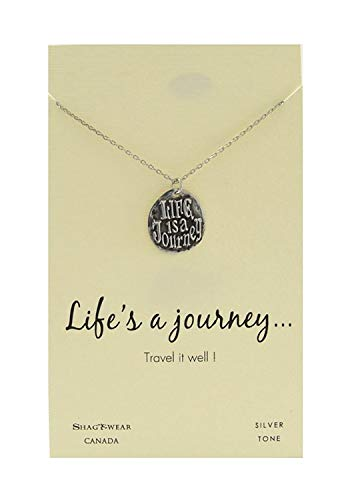Shag Wear Journey and Teacher Inspirations Quote Pendant Necklace (Life is a Journey Pendant) 925 Silver Inspiration Necklace