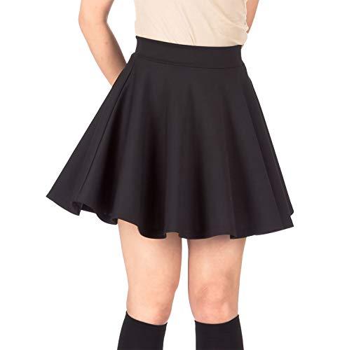 Pretty Fashion Women's Plain Skater Skirt Basic A-Line Stretchy Flared Mini Flowy Skirt Multiple Colours Plus Size Curve…