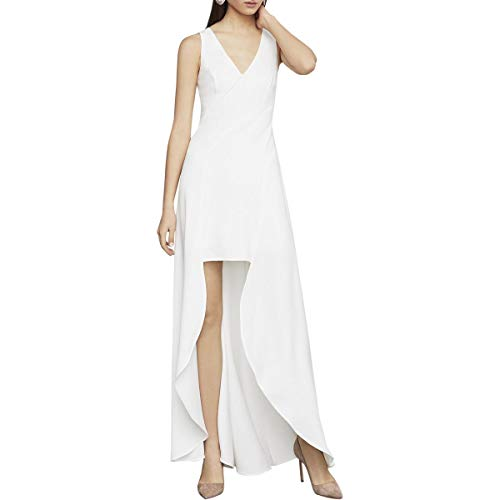 BCBG Max Azria Womens Sleeveless Crepe V-Neck High Low Dress White Size 4