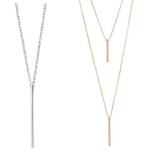 2Pcs Simple Long Necklaces Set Y Layer Vertical Bar Pendant Necklace Lariat Chain Polished Jewelry for - Is 2 Day Shipping What