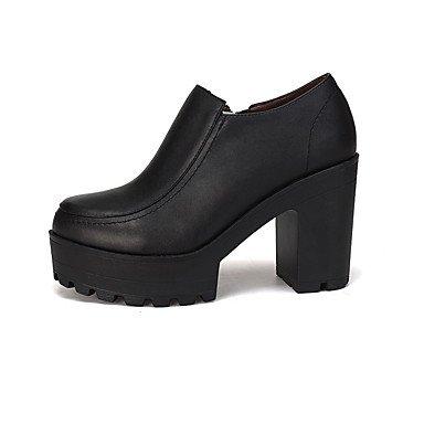 Schuhe Herbst amp; us5 Leder Formale GGX Black Schwarz Blockabsatz uk3 Damen Normal eu35 Schuhe Mehr Frühling Heels LvYuan cn34 Formale cm High 12 PqCa8xxw