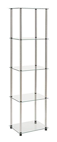 Silver Bookcase Cabinet - Convenience Concepts 5-Tier Glass Tower