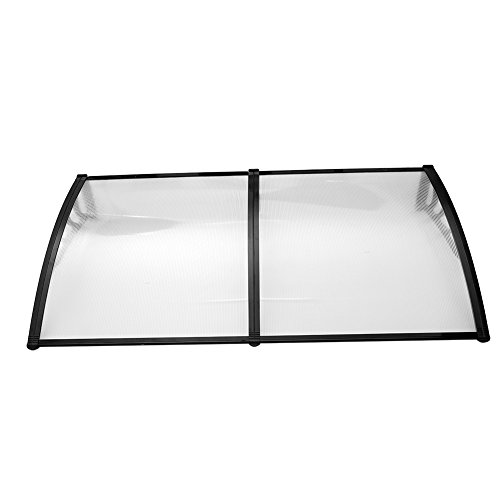 Yosoo Door Canopy Awning Rain Shelter Front Back Porch Shade Patio Roof Cover (190100, Black) by Yosoo
