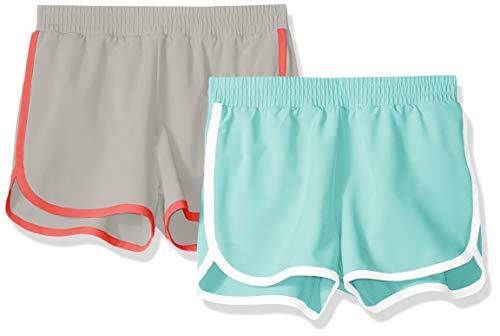 Amazon Essentials Toddler Girls' 2-Pack Active Running Short, Aqua/Grey, ()