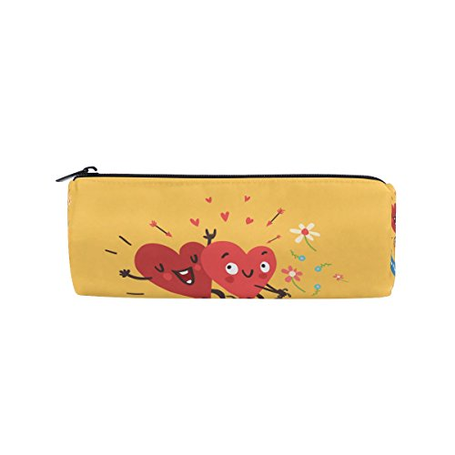 Valentine Love Pencil (U LIFE Hello Welcome Spring Summer Happy Hearts Valentines Day Love Pen Pencil Holder Case Bag Pouch Purse Cosmetic Makeup Bags)
