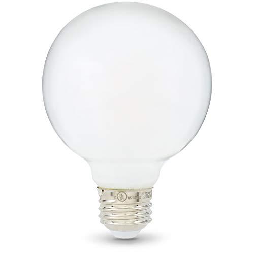 AmazonBasics 60W Equivalent, Frosted, Soft White, Dimmable, 15,000 Hour Lifetime, G25 LED Light Bulb | 3-Pack (3000k Led Globe)