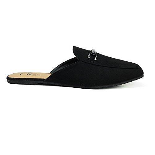 FFC NEW YORK Sandie Black Microsuede Slip On Mule Flat Sandal Size 11