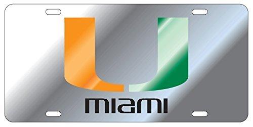 Miami Hurricanes Silver Mirrored License Plate Tag ()