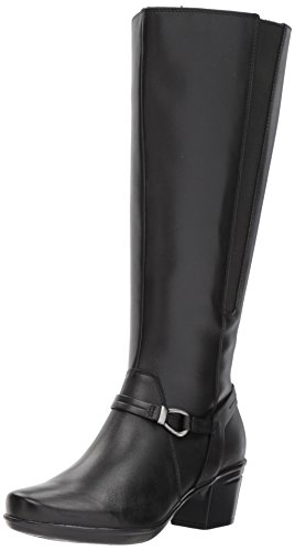 Clarks Women's Emslie Sinai W Calf Riding Boot, Black Leather, 7 M US by CLARKS