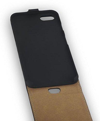 Hochwertige Premium Handy Flip Case Tasche schwarz für Apple Iphone 7 Schutz Hülle Etui Cover Schale schwarz