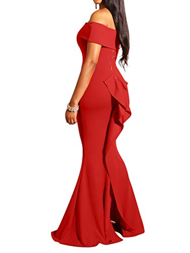 LAGSHIAN Women Elegant Back Ruffles Sexy Off Shoulder Gown Maxi Evening Party Mermaid Dress Red