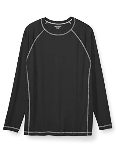 Amazon Essentials Men's Big & Tall Long-Sleeve Quick-Dry UPF 50 Swim Tee fit by DXL, Black, 3XL