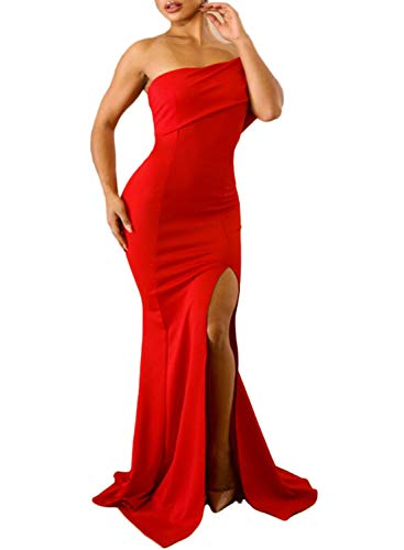 Happy Sailed Womens Elegant Off Shoulder Split Long Formal Dress Evening Gown Red Large