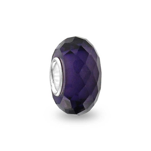 Dark Purple Faceted Murano Glass 925 Sterling Silver Core Spacer Bead Fits European Charm Bracelet For Women For Teen