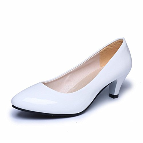 Mode Chaussures Cm Bureau Blanc Femme Bas 5 Synthétique 5 Talon Talons Yogogo Du Solide Housse Mince Poissons Bouche De Des Pointues Cuir wtq5nRX