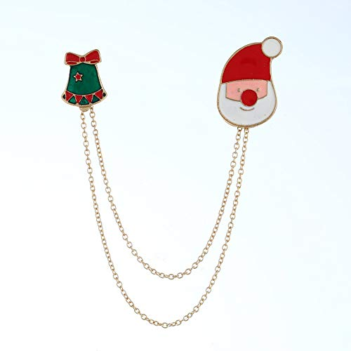 - Brave669 Clearance Deals!!Christmas Jingle Bell Santa Long Chain Lapel Badge Unisex Enamel Brooch Pin