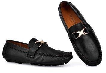 Happyshop (tm) Mens Semsket Skinn Veve Preging Ventilasjon Moccasin Loafers Slip-on Drivende Sko Sorte (skinn)