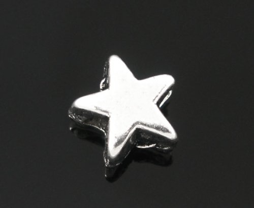 """PEPPERLONELY 200pc Antiqued Silver Alloy Spacer Beads Star Shape Charms Pendants 6x6mm (1/4"""" x1/4"""")"""