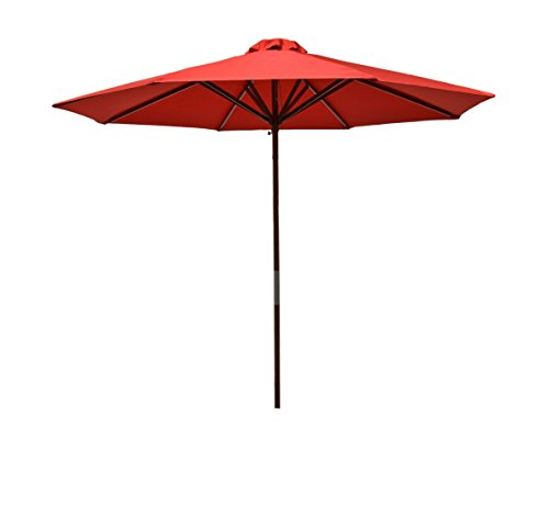 Heininger 1288 DestinationGear Classic Wood Red 9' Market Umbrella