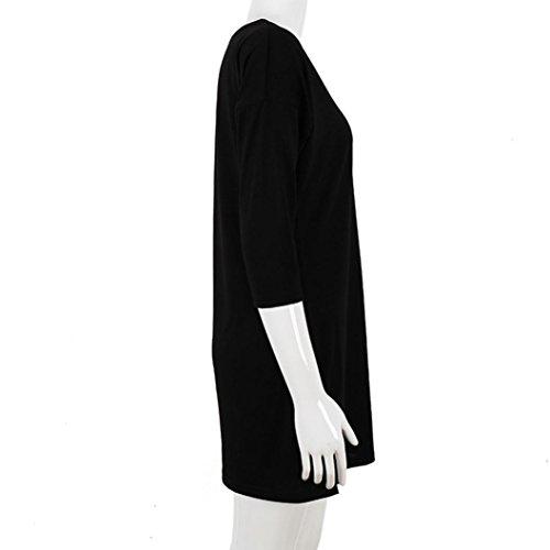 Rcool Blusa Suelta de Color Sólido de Talla Grande Camiseta con Mangas Mitad T-shirt Tops Mini Faldas Negro