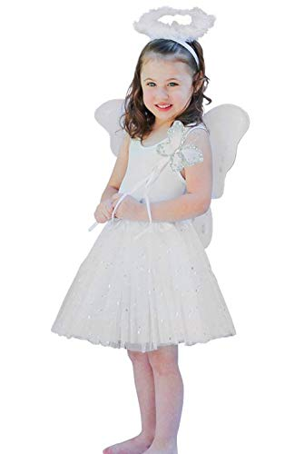 Angel Costume For Toddler Girl (Enchantly Girls 4 Piece White Angel Fairy with Wings, Butterfly Wand &)
