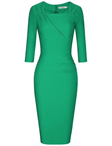 MUXXN Women's Pinup 1960s Crew Collar Oblique Empire Waist Juniors Evening Dress (Green S)