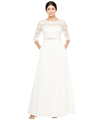 Adrianna Papell Women's Lace and Taffeta Ball Gown Ivory Dress