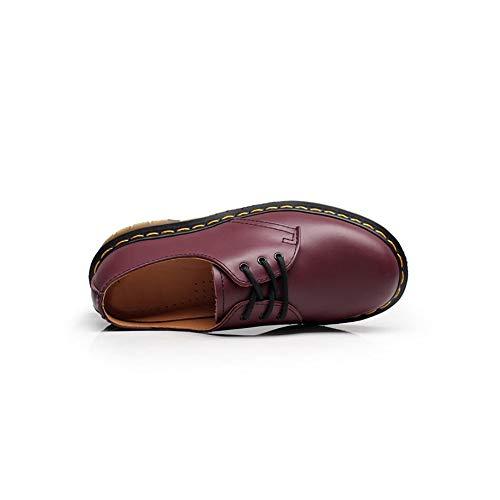 Cuir Chaussures En Loisirs Femme À Lacets Mogeek Rouge Pour Derbies Homme zWdF6Fwq