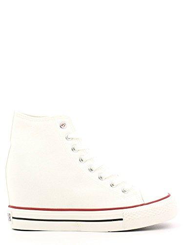 Cafè Noir Sneaker Mujer Canvas alto con cuña Cm 8 Blanco Blanco