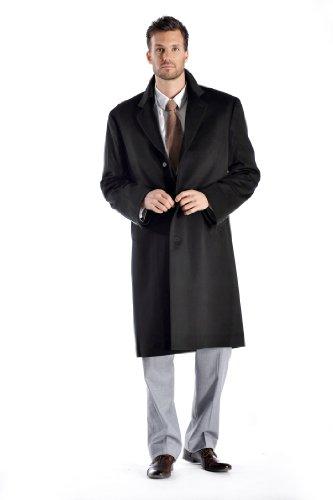 Men's Knee Length Cashmere Blend Overcoat (Black, 40)