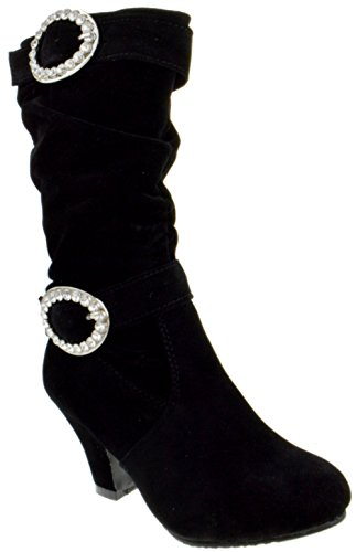 EQ 42K Little Girls Buckle Rhinestone Knee High Dress Boots Black 4 - Kid Suede High Heels