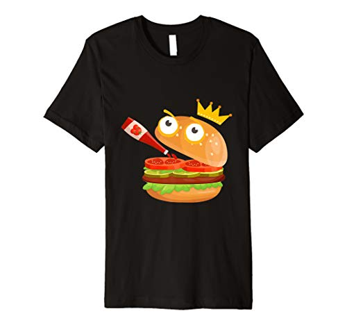 - King Hamburger Drinking Tomato Sauce Funny Cartoon TShirt