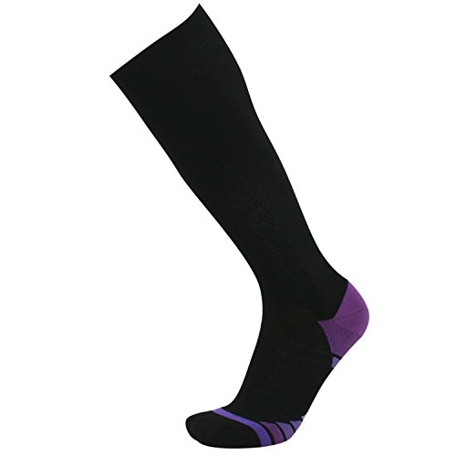 (Areke Compression Socks for Men & Women, 20-30 mmHg, Best Graduated Athletic Fit for Running, Nurses, Pregnancy, Flight Travel, Medical, Maternity, Shin Splints Color Black-Purple Size)